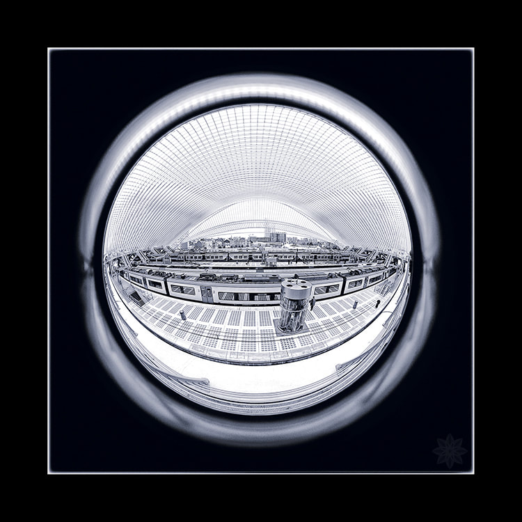 fisheye Liege, Luik, Guillemins, station, zwart/wit, fotobewerking, intersensa